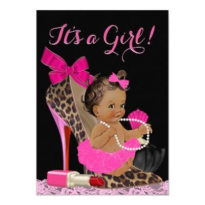 Hot Pink Leopard High Heel Shoe Ethnic Baby Shower Invitation