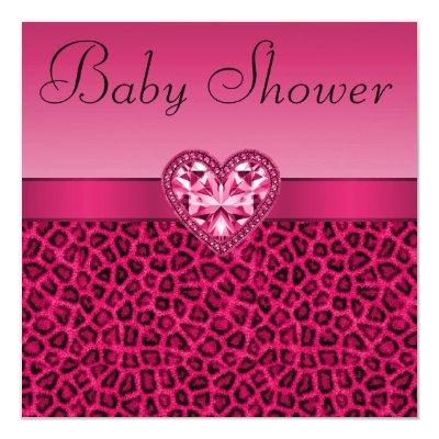 Hot Pink Leopard Print & Bling Heart Baby Shower Invitation