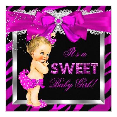 Hot Pink Zebra Girl Blonde Baby Invitations