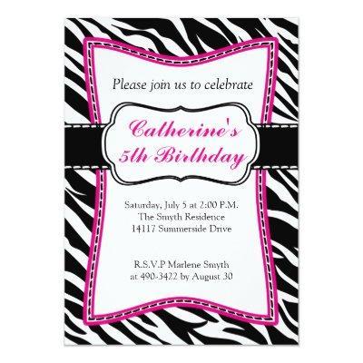 Hot Pink Zebra Child's Birthday Invitation. Invitation