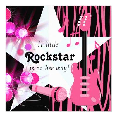 Hot Pink Zebra Rockstar Baby Girl Shower Invitations