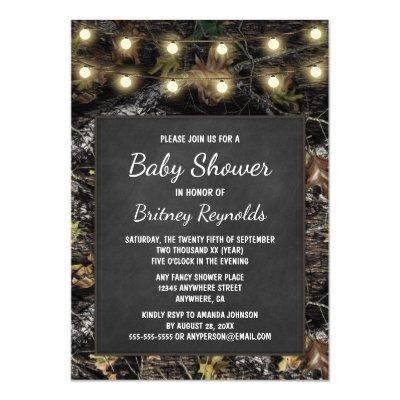 Hunting Camo Chalkboard Baby Shower Invitations