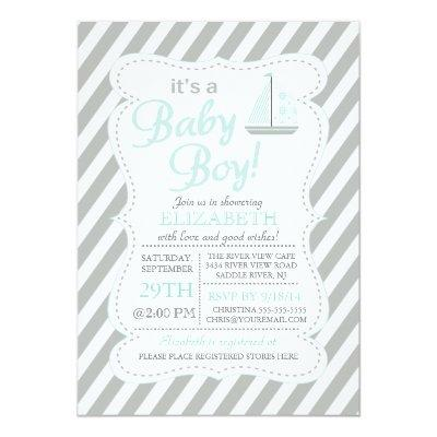 It's a Baby Boy Sailboat Nautical Baby Shower Invitation