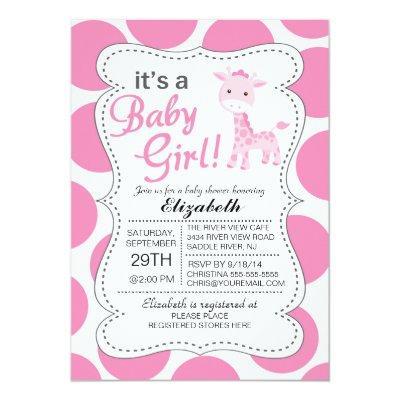 It's a Baby Girl Pink Giraffe Girls Invitations