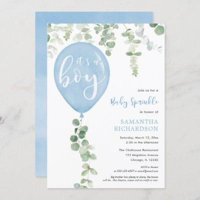 It's a boy baby sprinkle eucalyptus balloon invitation