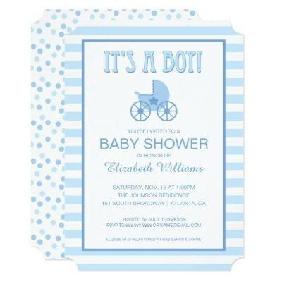 It's a Boy!   Blue and White Striped Baby Carriage Invitation