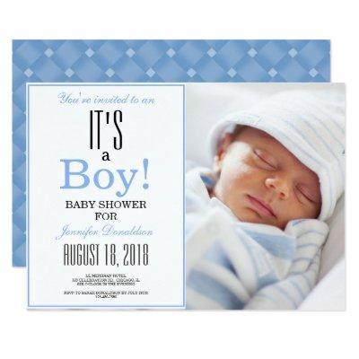 It's a Boy! Blue Baby Shower Photo Invitation