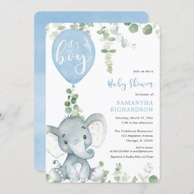 It's a boy blue balloon cute elephant baby shower invitation
