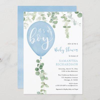 It's a boy blue balloon eucalyptus baby shower invitation
