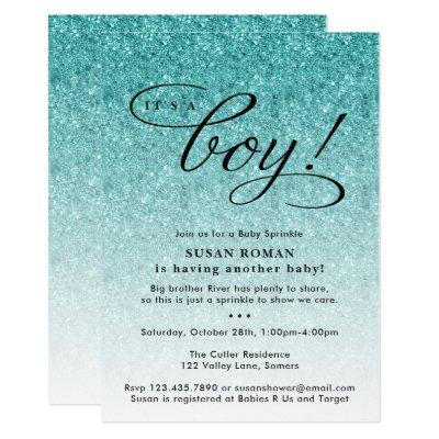 It's a Boy Blue Ombre Glitter Baby Sprinkle Shower Invitations