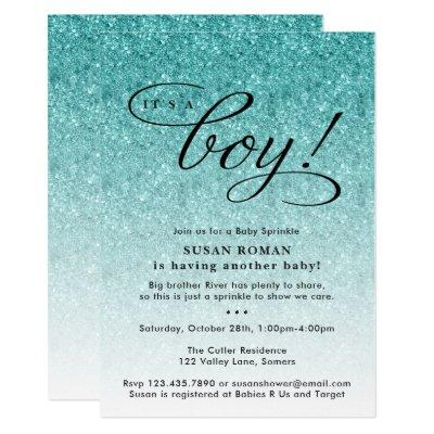 It's a Boy Blue Ombre Glitter Baby Sprinkle Shower Invitation