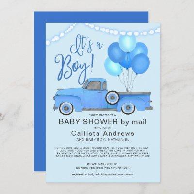 It's a Boy Blue Truck Balloons Lights Baby Shower Invitation
