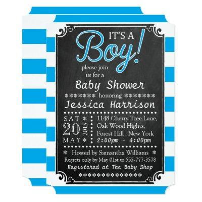 It's A Boy! Chalkboard Baby Shower Invitations