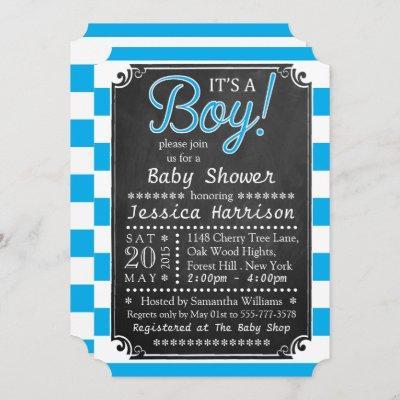 It's A Boy! Chalkboard Baby Shower Invitations