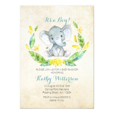 It's a boy elephant baby shower Invitations