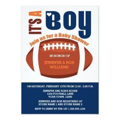 It's a Boy Football Blue Orange Baby Shower Invitation