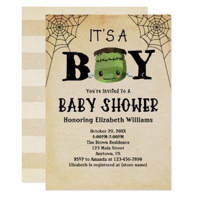 It's A Boy Frankenstein Halloween Baby Shower Invitation