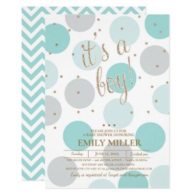 It's a Boy - Grey, Turquoise & Gold Baby Shower Invitation