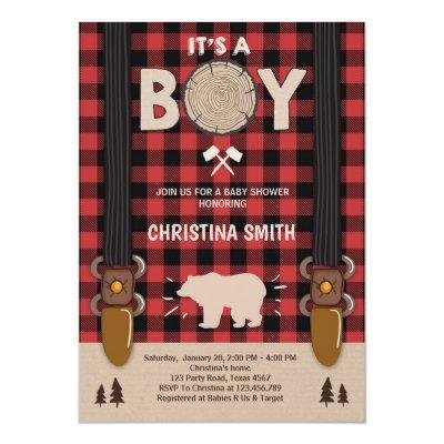 It's a boy Lumberjack Baby shower Invitations boy