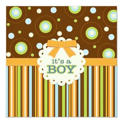 It's a Boy Orange & Blue Stitches Baby Shower Invitation