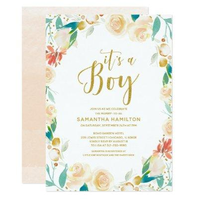 It's a Boy Peach Gold Glitter Floral Baby Shower Invitations