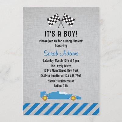 It's A Boy Race Car Baby Shower Invitation