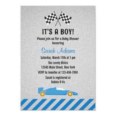 It's A Boy Race Car Baby Shower Invitations