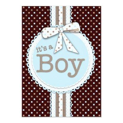 It's a Boy Ribbon & Bow Baby Shower Blue Dots Invitation