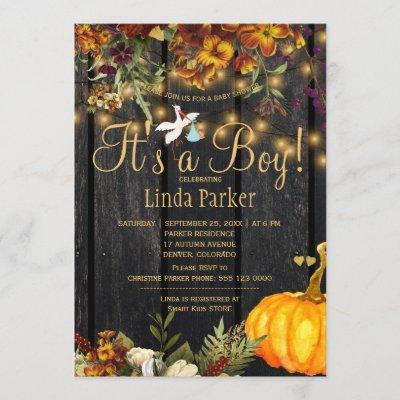 It's a boy rustic autumn pumpkin baby boy shower invitation
