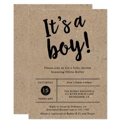 It's A Boy Rustic Kraft Baby Shower Invitation