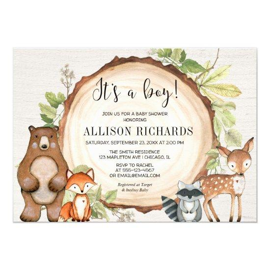 It's a boy rustic woodland animals baby shower invitation