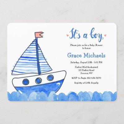 It's A Boy Sailboat Baby Shower Invitation