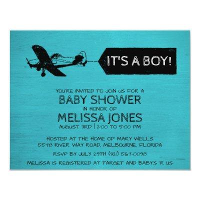 It's A Boy Turquoise Airplane Invite