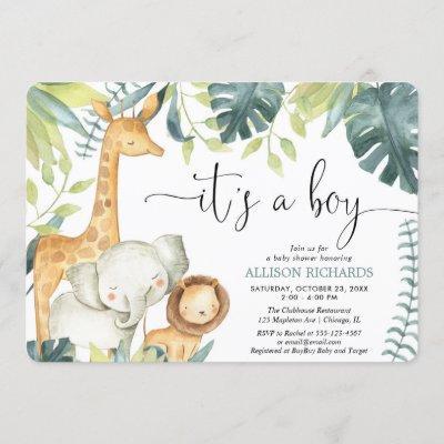 It's a Boy watercolor safari animals baby shower Invitation