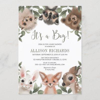 It's a Boy woodland animals forest baby shower Invitation