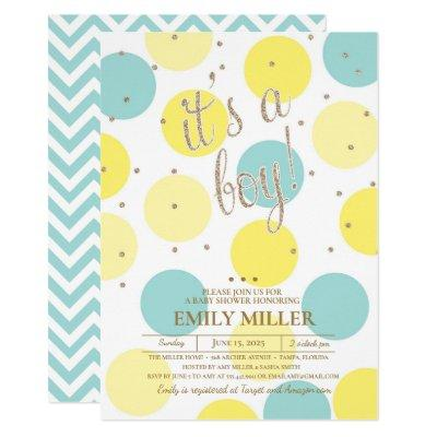 It's a Boy - Yellow, Turquoise & Gold Baby Shower Invitation