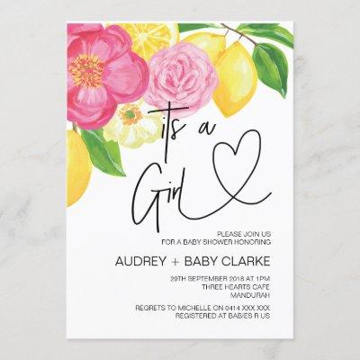 Its a Girl Baby Shower Party Summer Baby Bash Invitation