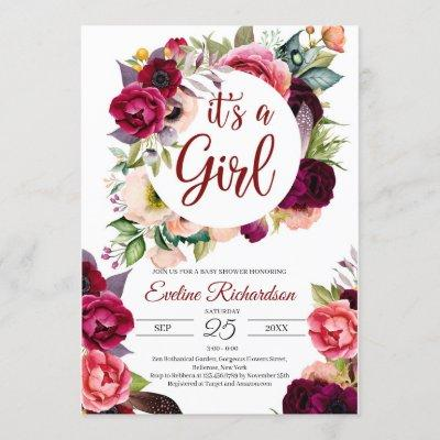 It's a girl blush burgundy and maroon floral baby invitation