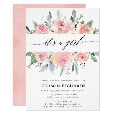 It's a girl blush greenery floral girl baby shower invitation
