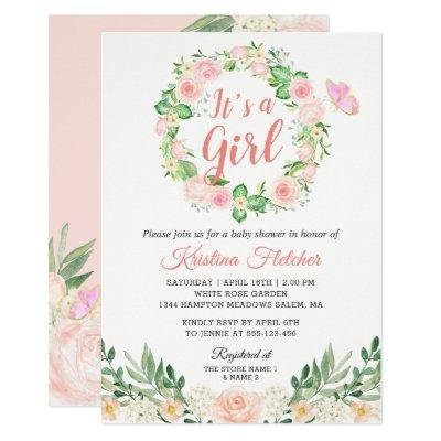 It's a Girl Blush Peach Floral Garden Baby Shower Invitations