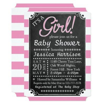It's A Girl! Chalkboard Baby Shower Invitations