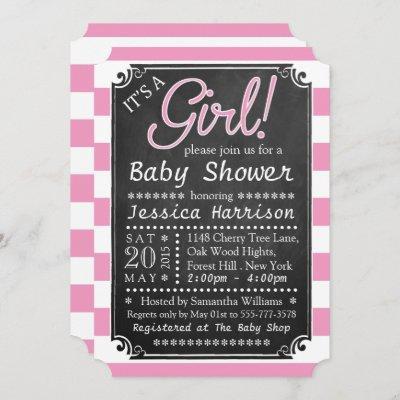 It's A Girl! Chalkboard Baby Shower Invitations