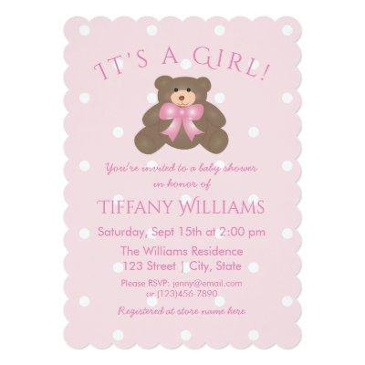 It's a Girl Cute Girly Pink Bear Cub Baby Shower Invitations
