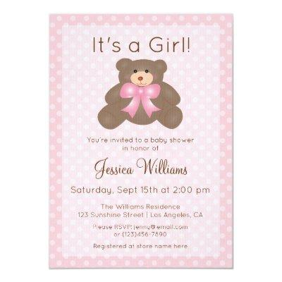 It's a Girl Cute Pink Teddy Bear Girl Baby Shower Invitation