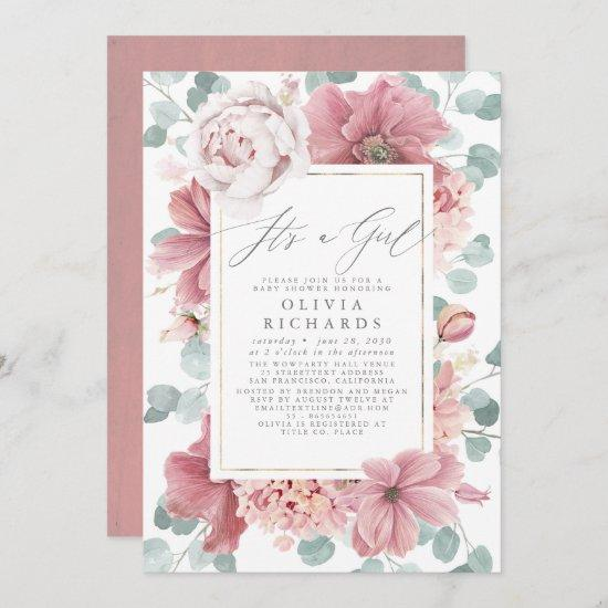 It's A Girl Dusty Rose Floral Cute Baby Shower Invitation
