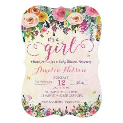 It's A Girl Floral Garden Baby Shower Invitations