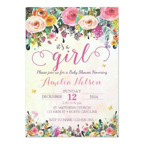It's A Girl Floral Garden Invitations