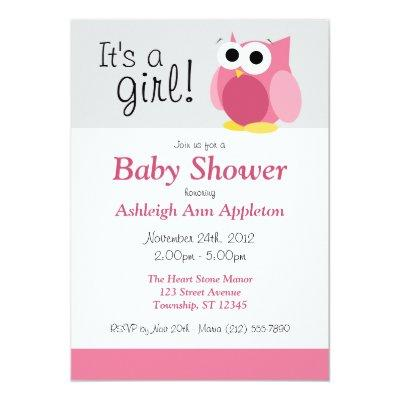 baby shower diaper activity invitations sign itu0027s a girl funny pink owl invitations