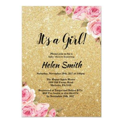 It's A Girl Gold Glitter Floral Baby Shower Invitations