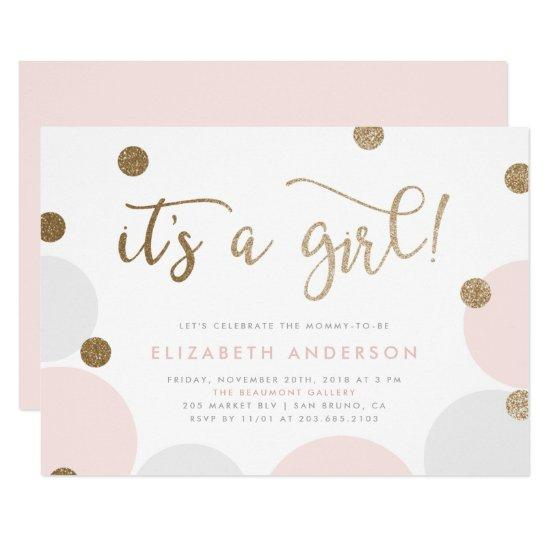 It's a Girl! | Pink & Gold Confetti Baby Shower Card